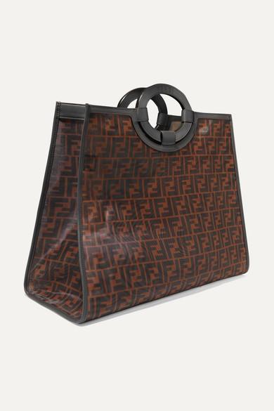 65b58ddbb452 Fendi. Runaway large leather-trimmed printed mesh tote