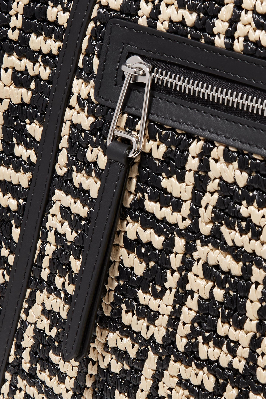 Fendi Runaway large leather-trimmed woven raffia tote
