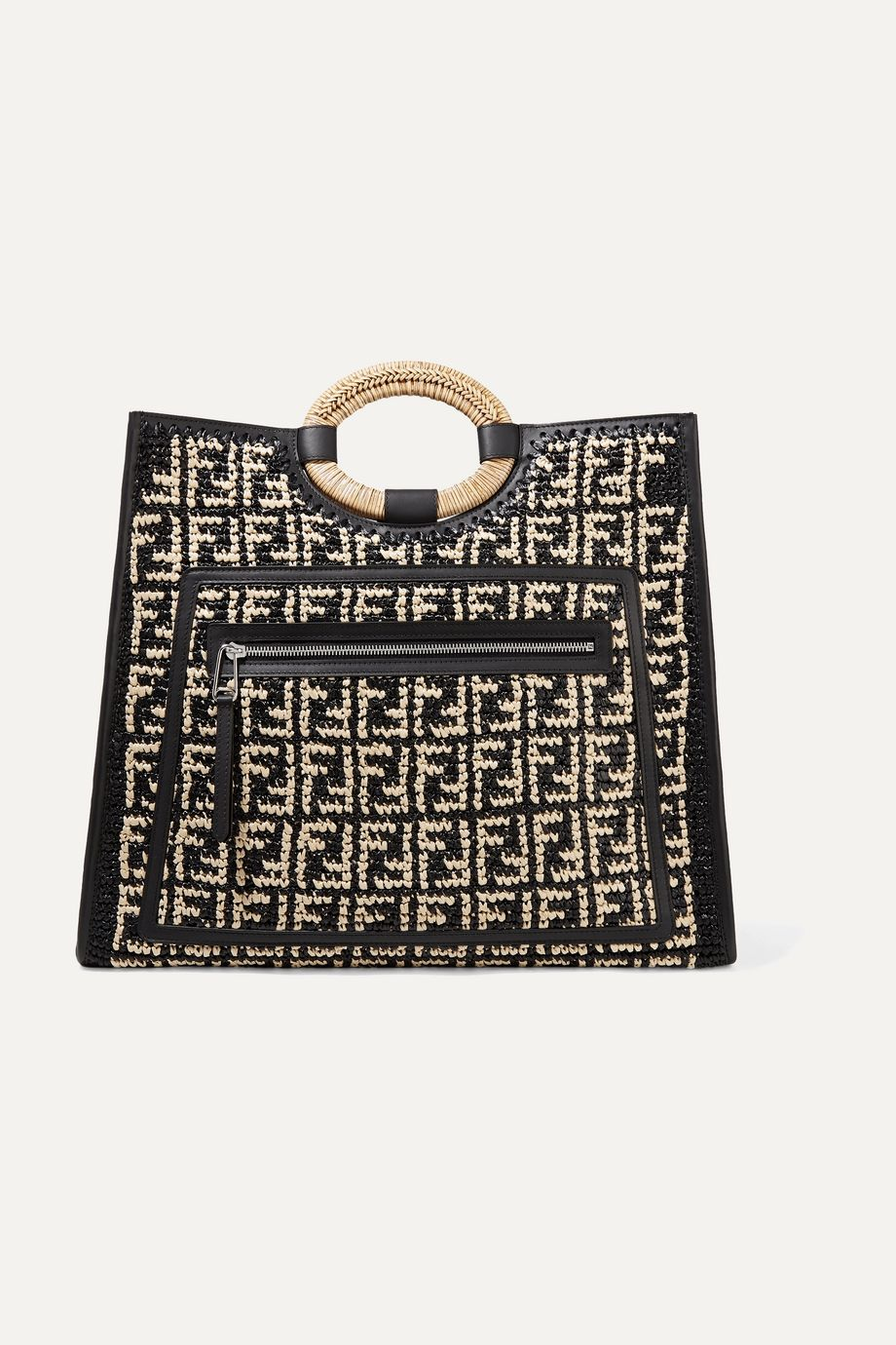 Fendi Runaway large leather-trimmed woven raffia tote