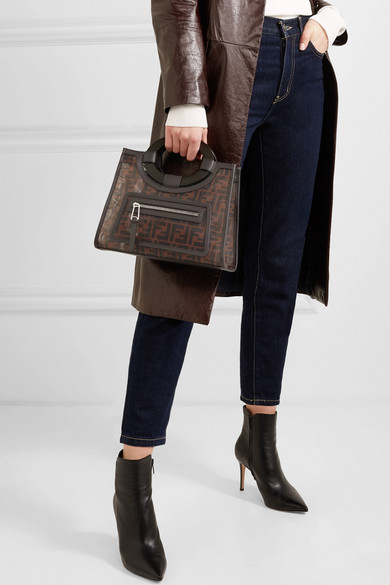 5578dd781c7d Fendi | Runaway small leather-trimmed printed mesh tote | NET-A ...