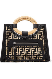 Runaway small leather-trimmed woven raffia tote