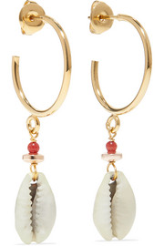 Gold-tone shell earrings