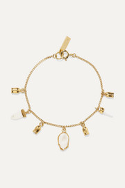 Gold-tone, bone and enamel bracelet