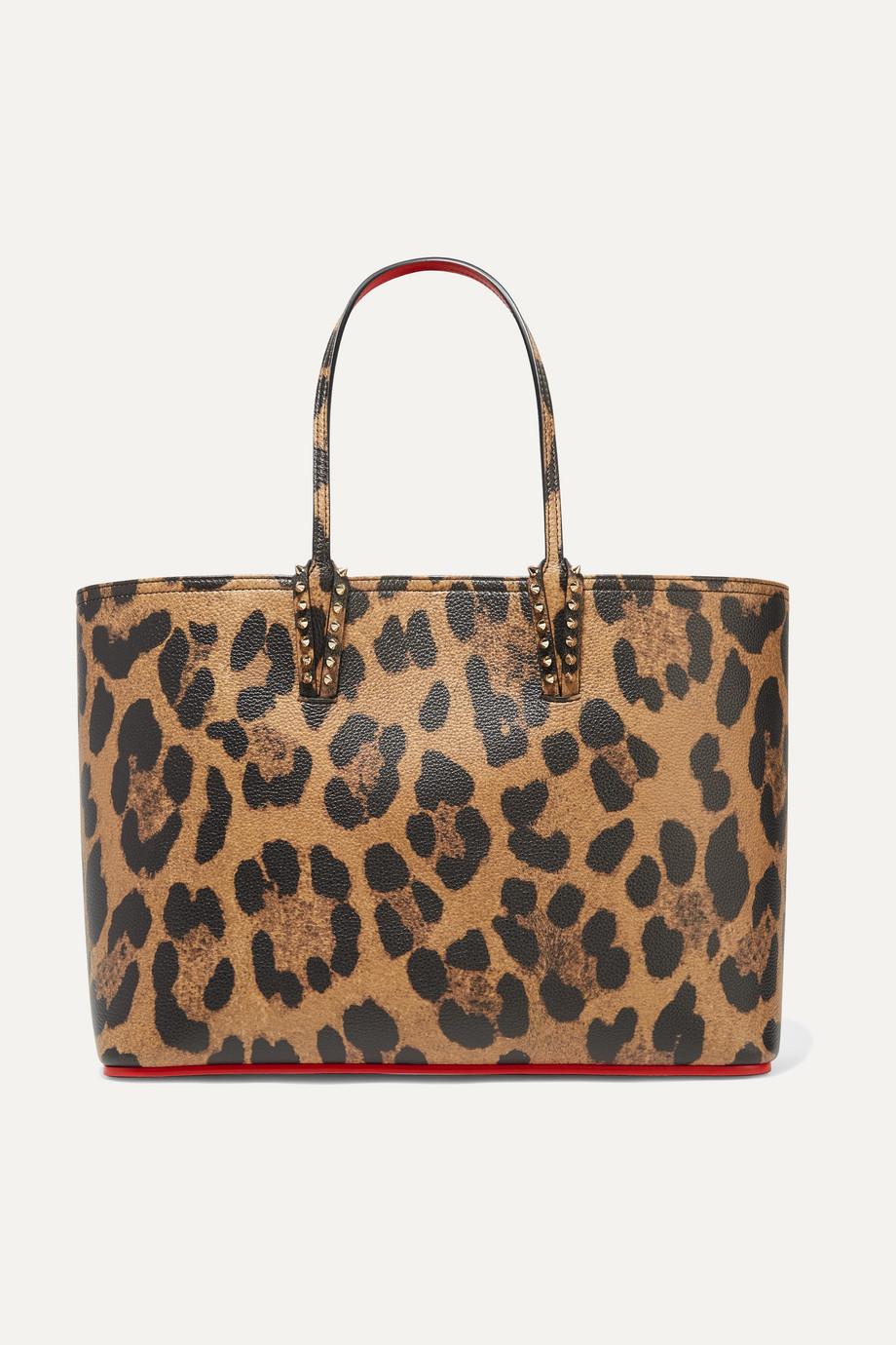 Christian Louboutin Sac à main en cuir texturé à imprimé léopard et à clous Cabata