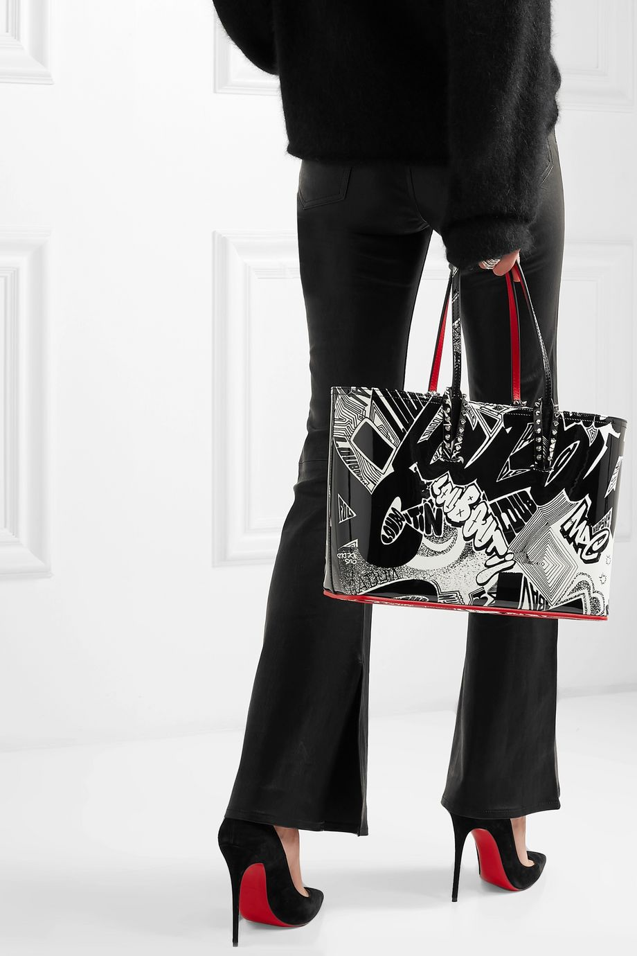 Christian Louboutin Cabata small spiked printed patent-leather tote