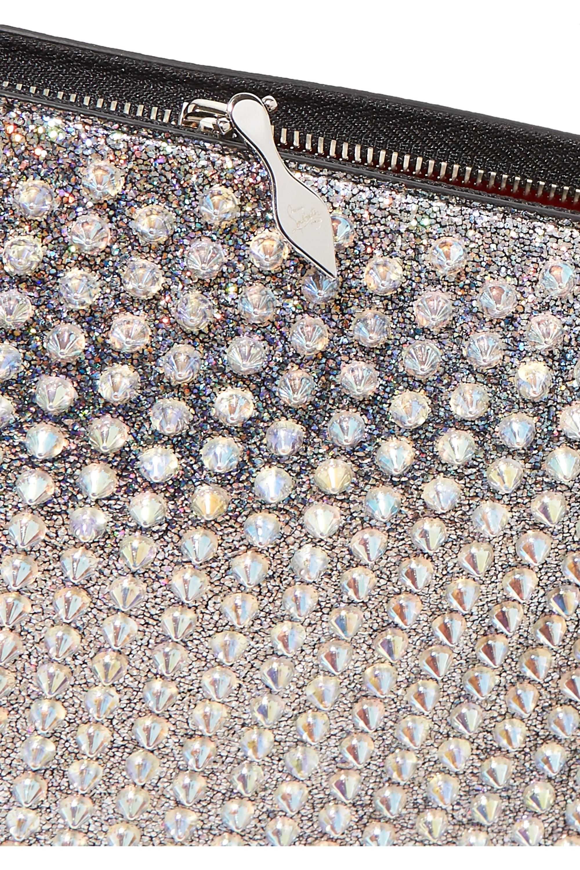 Christian Louboutin Loubiclutch Beutel aus Leder mit Glitter-Finish und Nieten