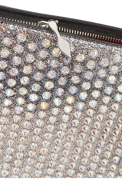 9c8b6761f00 Christian Louboutin | Loubiclutch spiked glittered leather pouch ...