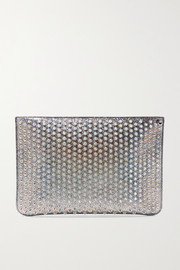 Christian Louboutin Loubiclutch spiked glittered leather pouch