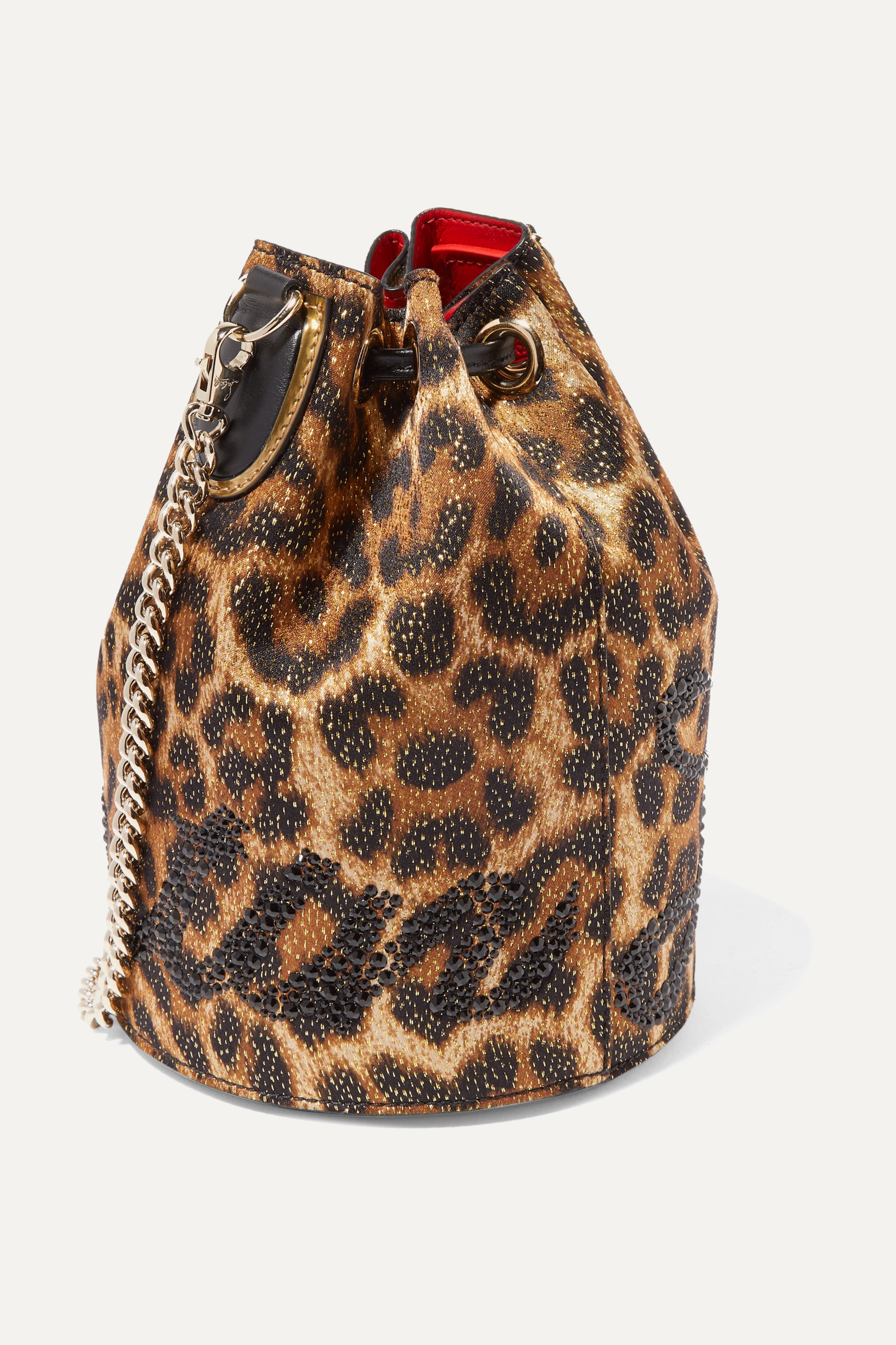 Christian Louboutin Marie Jane embellished leopard-print Lurex and leather bucket bag