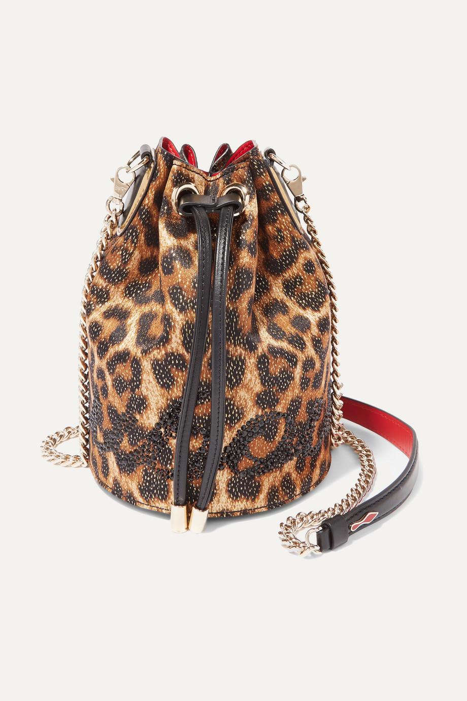 Christian Louboutin Marie Jane verzierte Beuteltasche aus Lurex® mit Leopardenprint und Leder