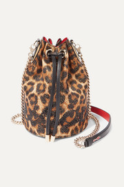 Marie Jane embellished leopard-print Lurex and leather bucket bag