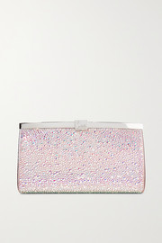 Christian Louboutin Palmette crystal-embellished satin clutch