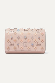 Christian Louboutin Paloma embellished textured and patent-leather clutch