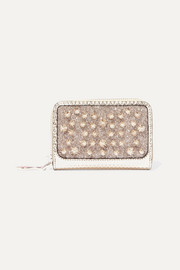 Christian Louboutin Panettone spiked glittered metallic leather wallet