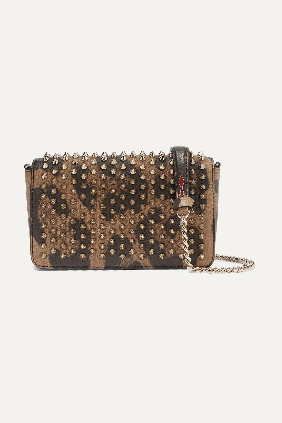 Christian Louboutin Zoompouch spiked leopard-print leather shoulder bag