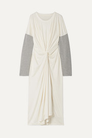 MM6 Maison Margiela Oversized twist-front jersey-trimmed stretch-knit maxi dress