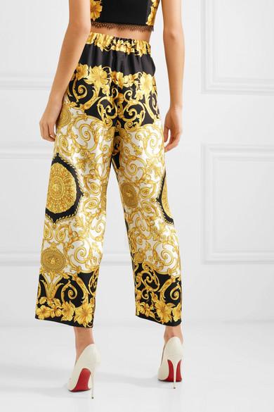 Versace Pants Printed cropped silk-charmeuse wide-leg pants