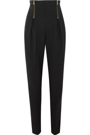 Zip-detailed wool-blend tapered pants