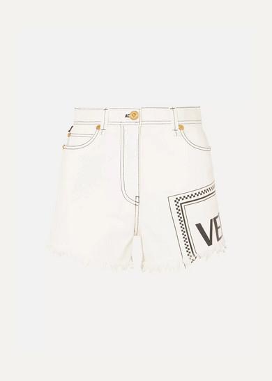 74ec533cd27ba Versace | Frayed printed denim shorts | NET-A-PORTER.COM