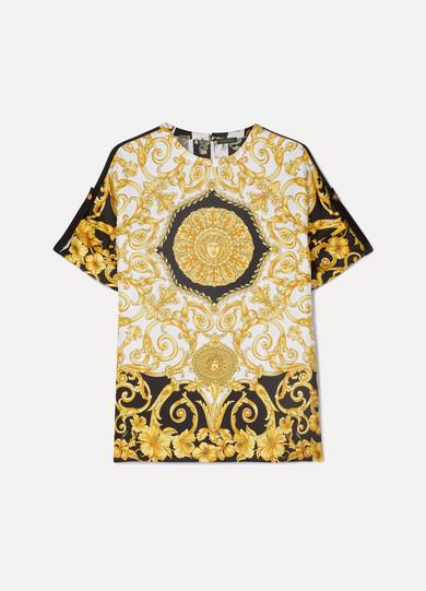 VERSACE | Versace - Printed Silk-twill Top - Yellow | Goxip