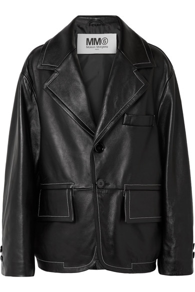 Single-Breasted Leather Blazer in Black