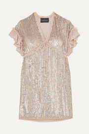 Needle & Thread Sequined chiffon mini dress