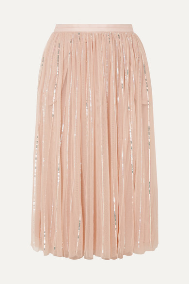 buy best excellent quality hot-selling Sequin-embellished tulle midi skirt