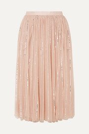 Needle & Thread Sequined tulle midi skirt