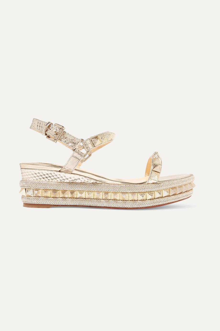 Christian Louboutin Pyraclou 60 spiked textured-leather wedge sandals