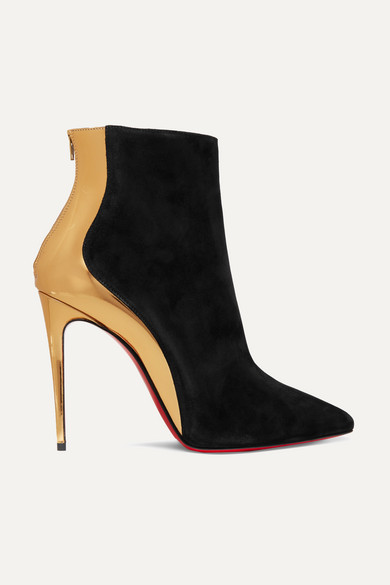 Delicotte 100 Suede And Mirrored-Leather Ankle Boots in Black from Christian Louboutin