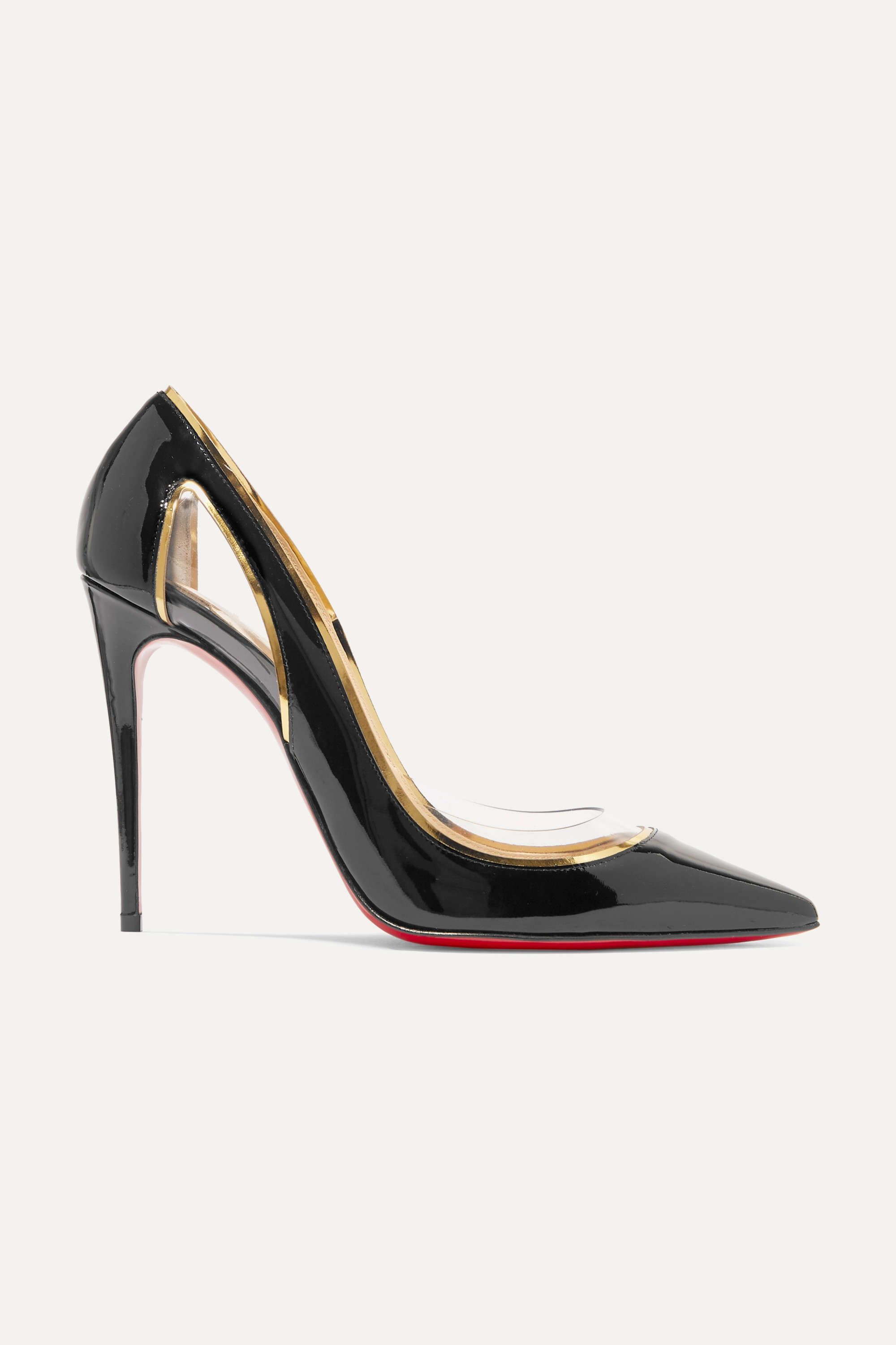 Christian Louboutin Cosmo 100 metallic-trimmed PVC and patent-leather pumps
