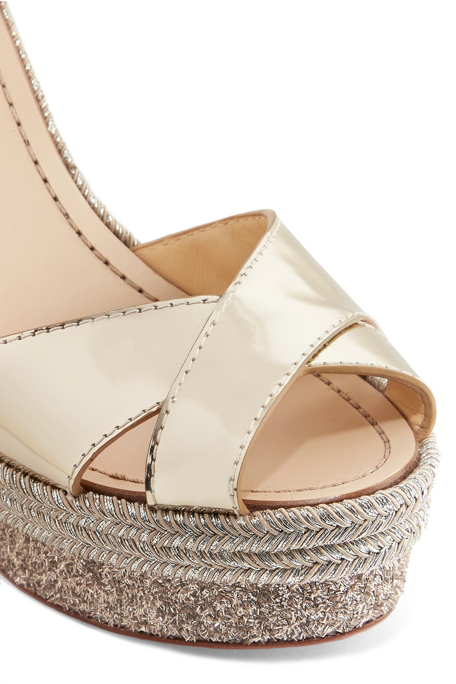 b0f70434131 Christian Louboutin Almeria 120 leather espadrille wedge sandals