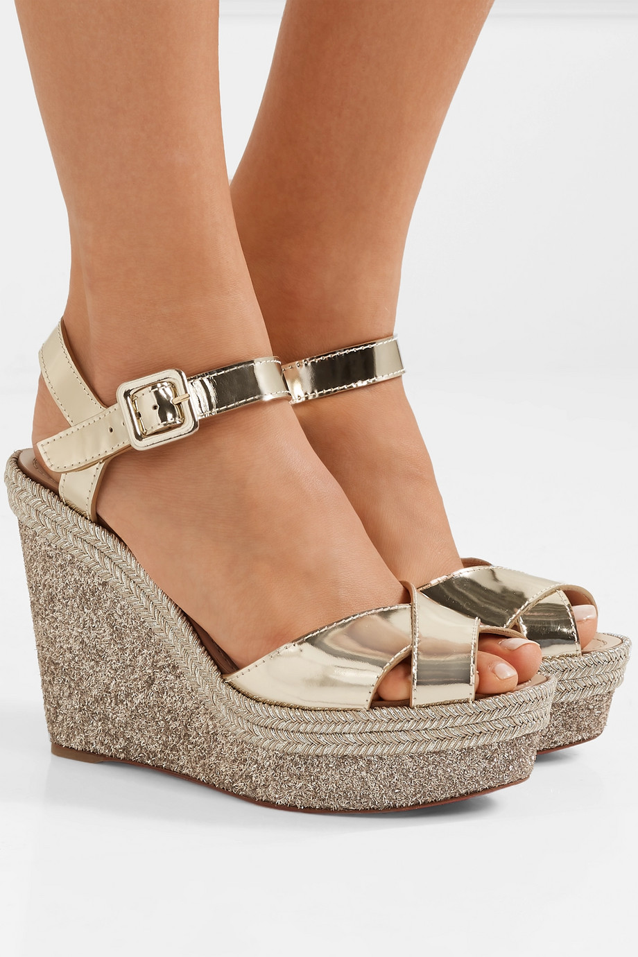 Christian Louboutin Almeria 120 leather espadrille wedge sandals