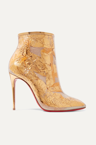 Christian Louboutin Boots Booty Cap 100 PVC and metallic crinkled-foil ankle boots