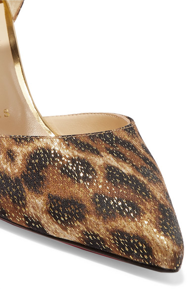 best website a5ee6 b4e56 Christian Louboutin | Iriza 70 metallic leopard-print satin ...
