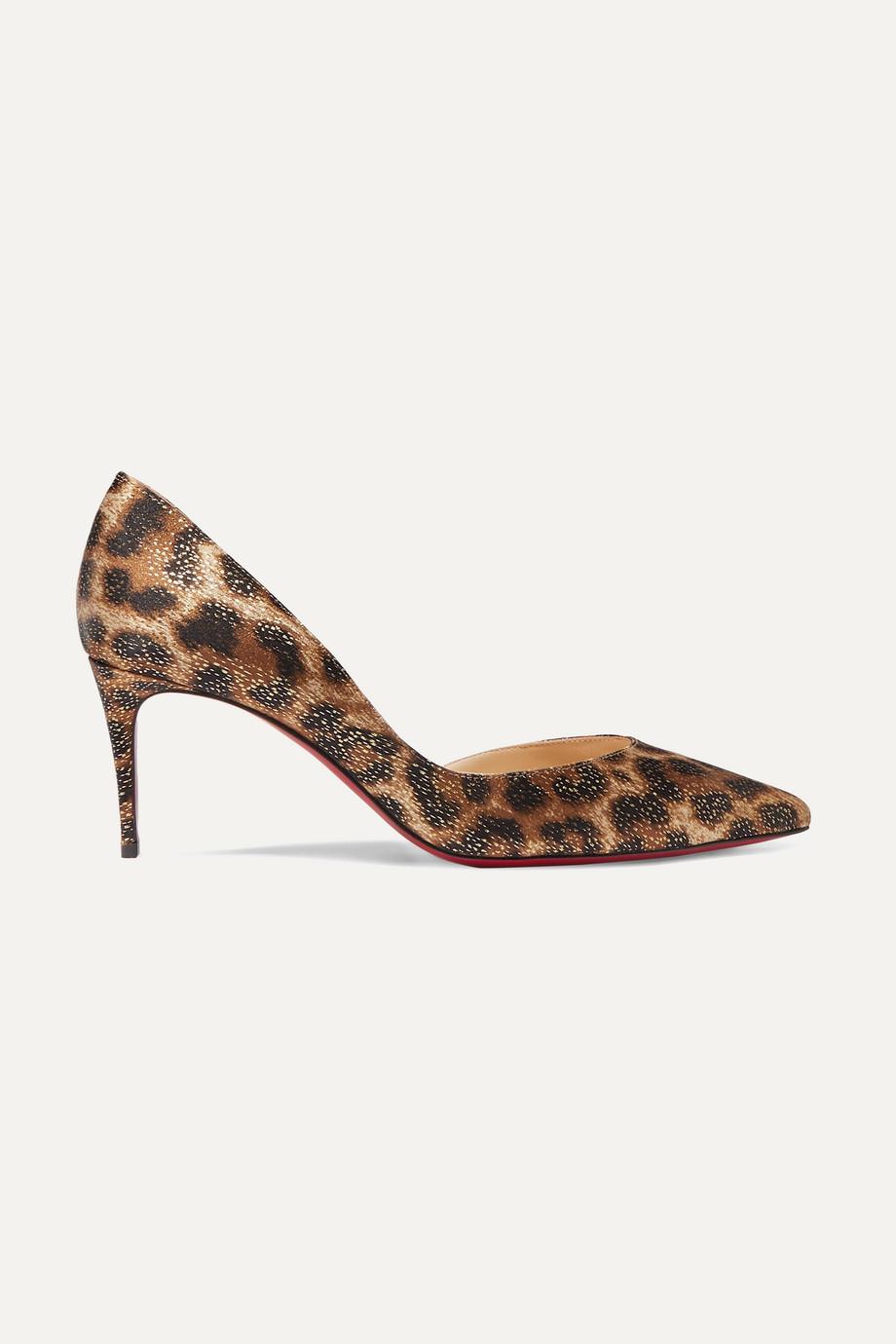 Christian Louboutin Iriza 70 metallic leopard-print satin pumps