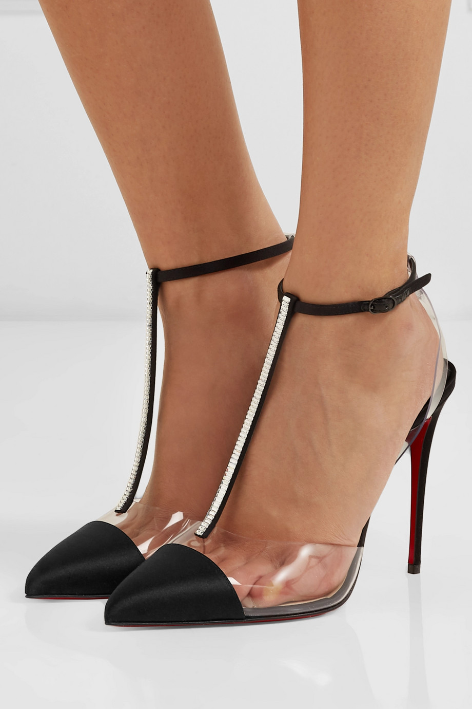Christian Louboutin Nosy 100 crystal-embellished satin and PVC pumps