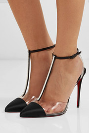 Nosy 100 crystal-embellished satin and PVC pumps