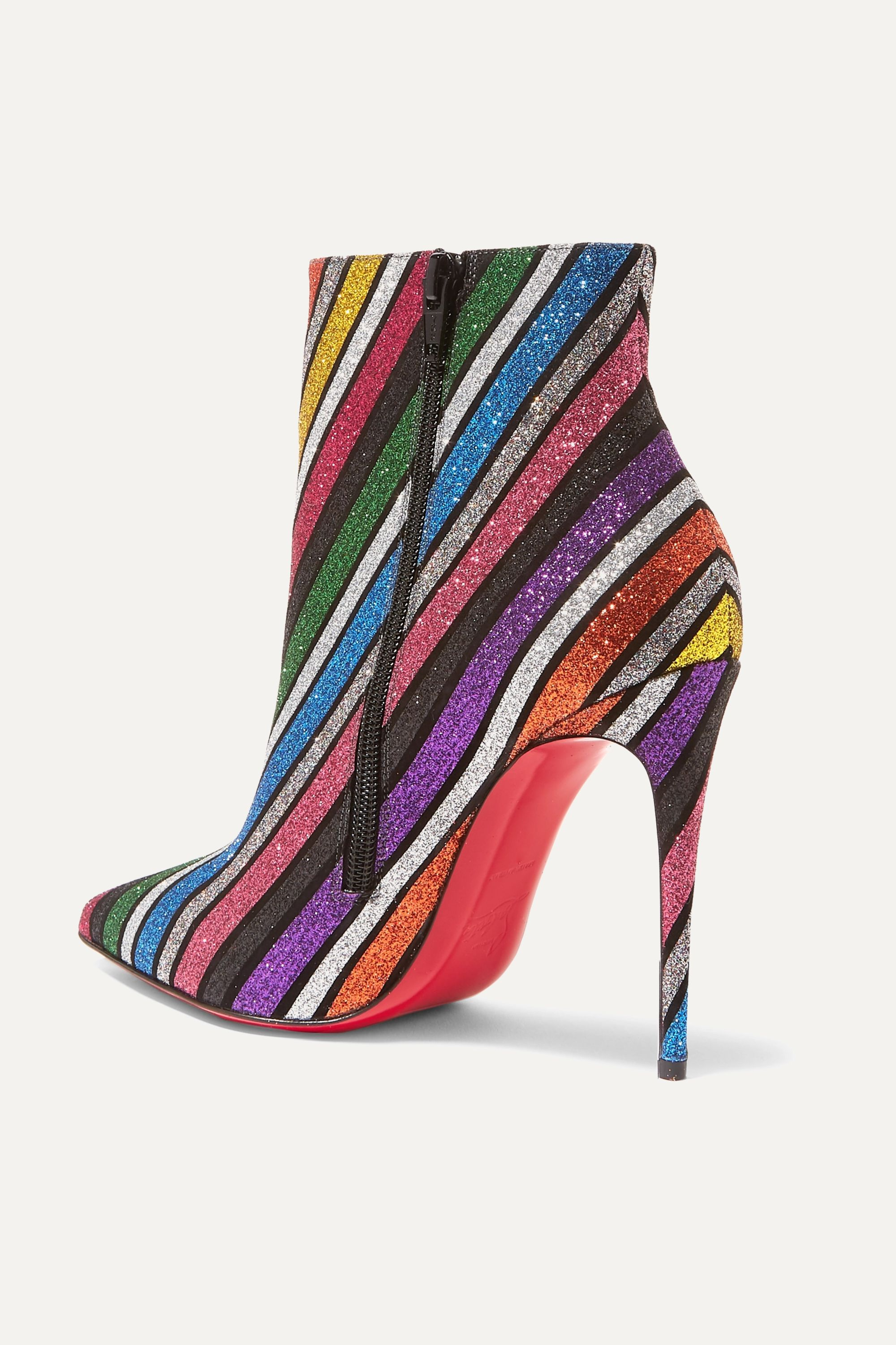 Christian Louboutin So Kate 100 striped glittered leather ankle boots
