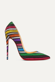 Christian Louboutin So Kate 120 gestreifte Pumps aus Veloursleder mit Glitter-Finish