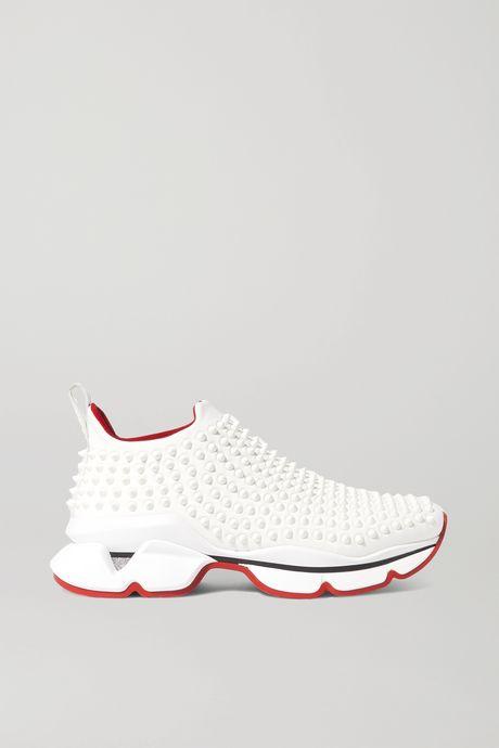 White Spiked neoprene slip-on sneakers | Christian Louboutin qQGWeO
