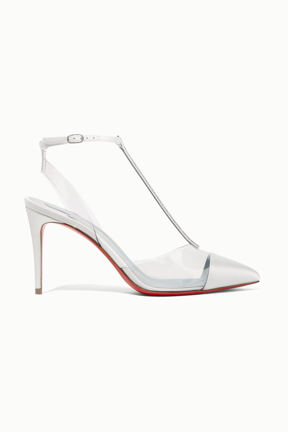 Christian Louboutin Nosy 85 crystal-embellished satin and PVC pumps