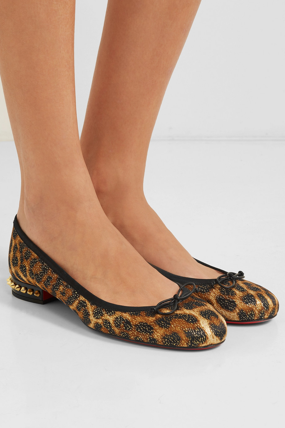 Christian Louboutin La Massine spiked leopard-print satin and leather ballet flats