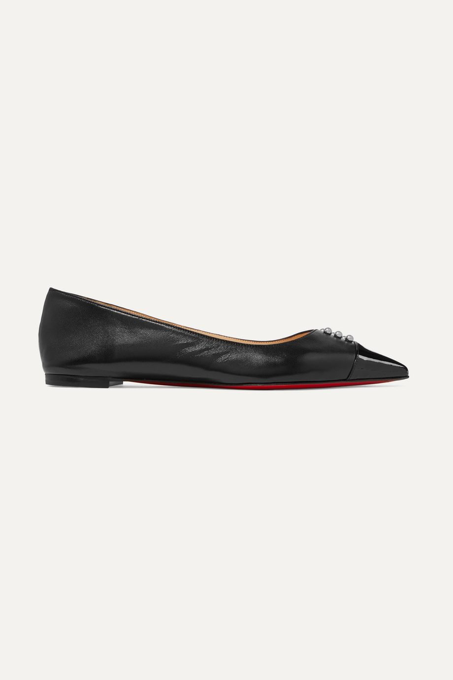 Christian Louboutin Predupump embellished patent-leather trimmed leather point-toe flats