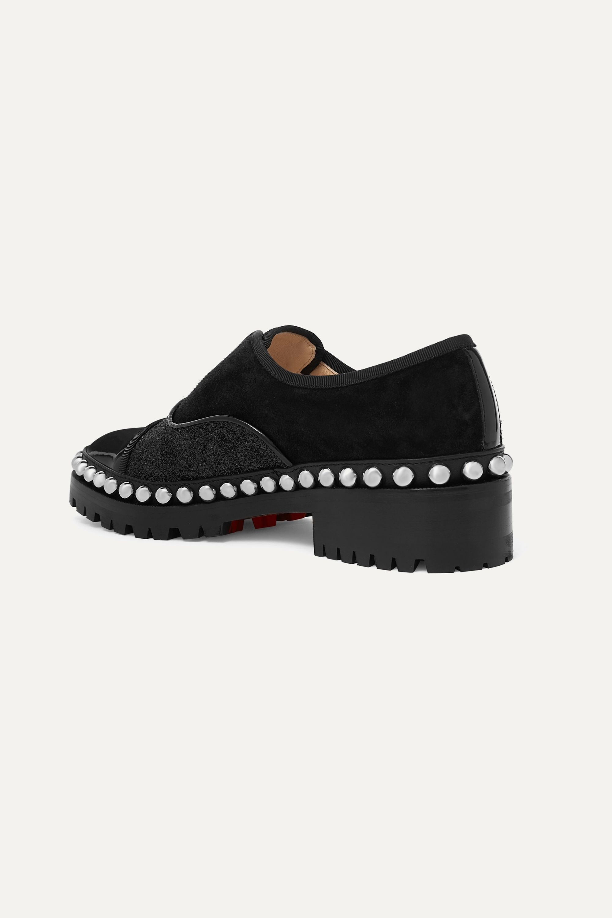 Christian Louboutin Alphacroc 35 studded glittered and patent leather and suede brogues