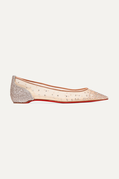 bae7db4c5df Follies crystal-embellished mesh and tinsel point-toe flats