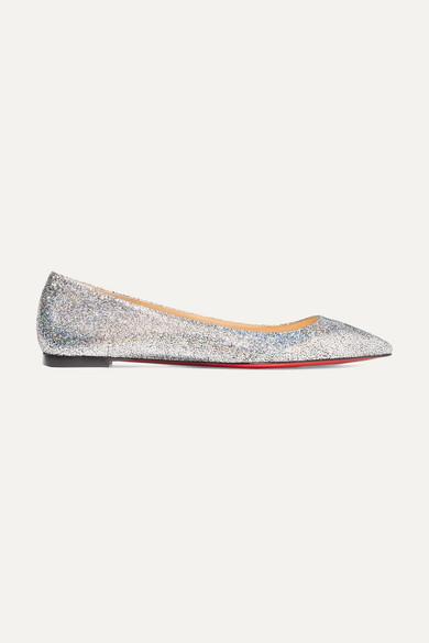 Ballalla Iridescent Glittered Leather Point-Toe Flats in Silver