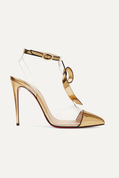 Alta Firma 100 Appliquéd Pvc And Metallic Leather Pumps in Gold