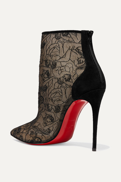 843ffd43440 Christian Louboutin | Psybootie 100 suede-trimmed embroidered mesh ...
