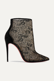 Psybootie 100 suede-trimmed embroidered mesh ankle boots